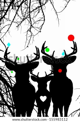 Festive Christmas Reindeer Family - stock photo