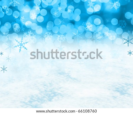 Festive Christmas snow background includes real snow in the bottom half of the image. - stock photo