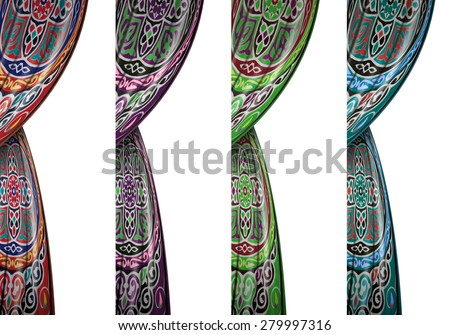 Festive Colorful Ramadan Curtains Isolated on White Background - stock photo
