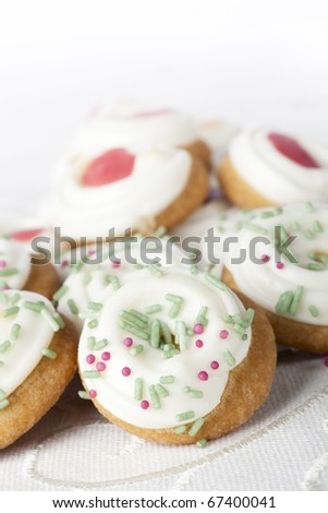 Festive cookies with frosting and decorations. - stock photo