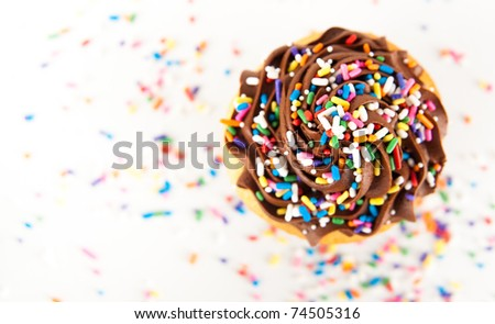 Festive Cupcake with Chocolate Frosting Top with Sprinkles - stock photo