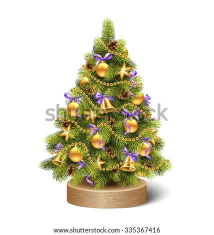 Festive Decoration Christmas Tree Pine on Wooden Stand Isolated on White Background - stock photo
