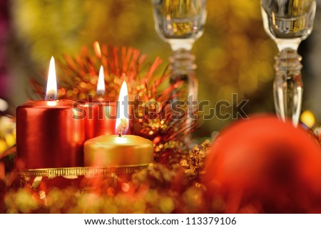 Festive decorations with candles. The color red