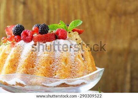 festive dessert round sponge cake homemade pastries - stock photo