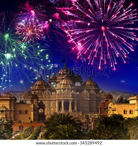 Festive firework over temple Akshardham, India. Delhi. - stock photo