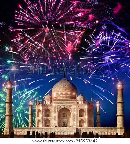 Festive fireworks over Taj Mahal, India - stock photo