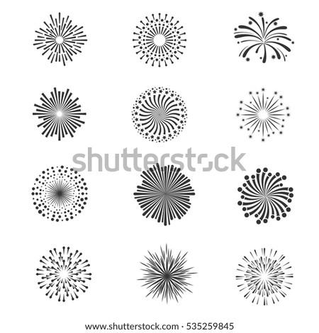 Festive fireworks star explosion collection monochrome fireworks for celebration holiday illustration