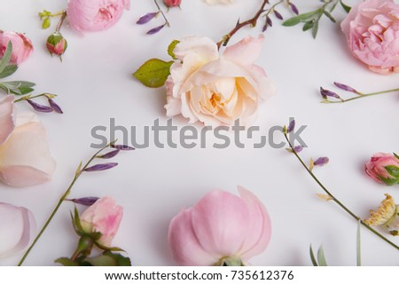 Festive flower English rose composition on the white background. Overhead view. Copy space. Birthday, Mother's, Valentines, Women's, Wedding Day concept.