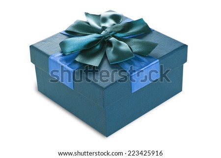 Festive gift box made of cardboard with a beautiful ribbon of turquoise color on a white background, isolated