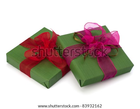 festive gift box stack isolated on white background - stock photo