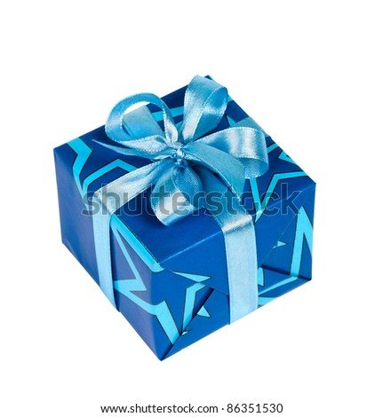 Festive gift box tied with blue ribbon bow isolated on white background (clipping path)