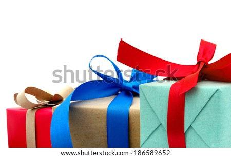 Festive gifts on background  - stock photo