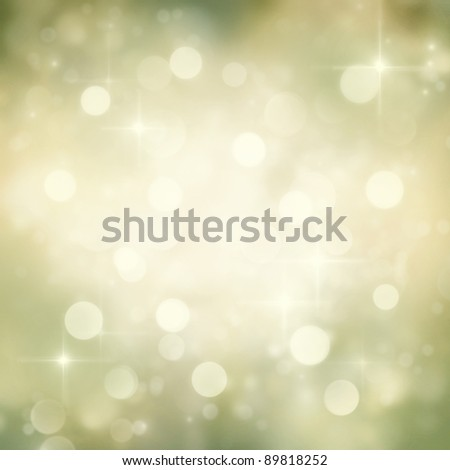 Festive gold Christmas abstract  background with bokeh lights and stars. - stock photo