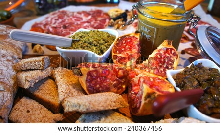 Festive gourmet table - stock photo
