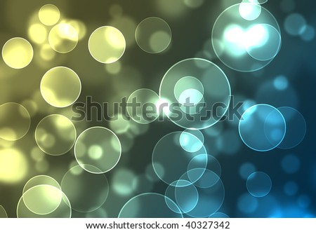 Festive holiday blue and yellow bokeh lights - stock photo