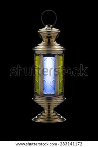 Festive Iconic Ramadan Lantern Isolated on Black - stock photo