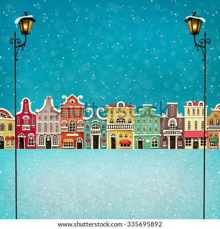 Festive illustration or poster with colorful town