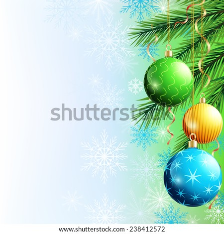 Festive luxury background for New Year and Christmas with Christmas tree, christmas ball, garlands and snowflakes. Celebratory card, place for text. Beautiful Christmas wallpaper. Raster illustration - stock photo