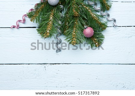 Festive new year and Christmas wooden background with empty space