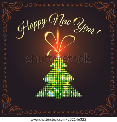 Festive New Year's card with a bright green tree in sparkling sequins, suspended on a gold ribbon on a dark background with decorated frame - stock photo