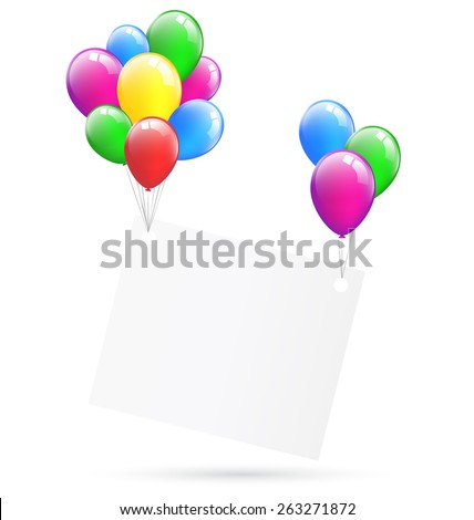 Festive paper frame hang on inflatable bright air balls isolated on white background - stock photo