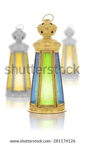 Festive Ramadan Lanterns Isolated on White Background - stock photo