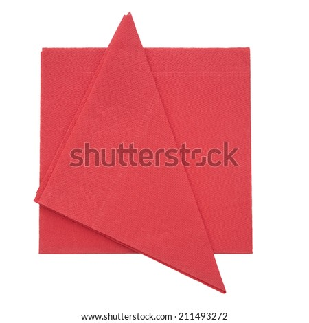 Festive red paper napkins, serviettes, isolated on white background. Ideal Christmas etc..
