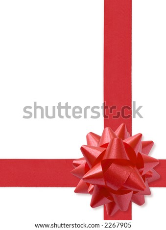 Festive Ribbon Isolated On White (with clipping path for easy background removing if needed) - stock photo
