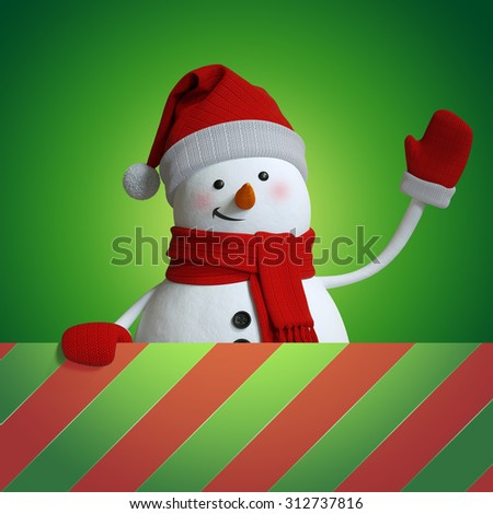 festive snowman background, Christmas holiday 3d illustration