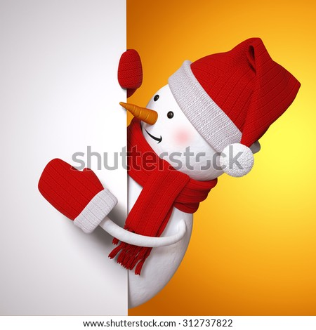 festive snowman holding blank Christmas banner, holiday background, 3d illustration - stock photo