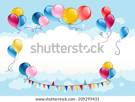 Festive summer background with balloons. Raster version. - stock photo