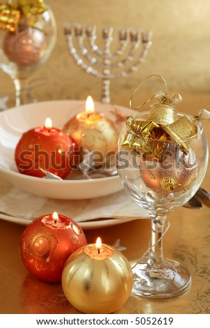 Festive table setting for Christmas - stock photo