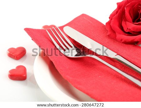 Festive table setting for Valentine Day isolated on white - stock photo