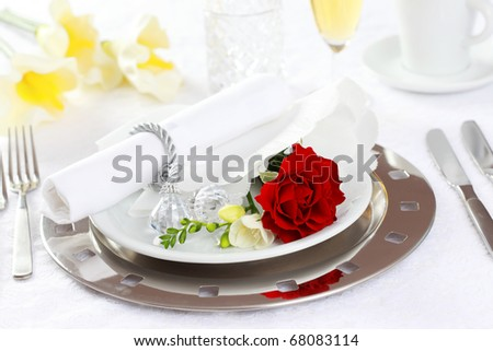 Festive table setting for wedding, Valentine or other event - stock photo