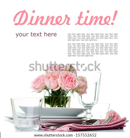 Festive table setting with pink roses, candles and shiny new cutlery on a white background, isolated, ready template - stock photo