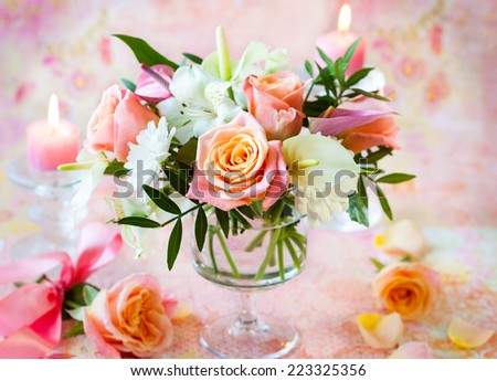 Festive table  with bunch of flowers - stock photo