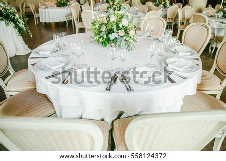 Festive table with flowers