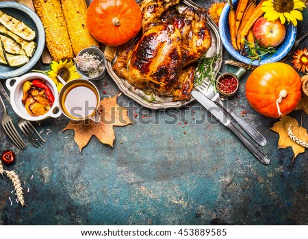 Festive Thanksgiving Day Food Background Roasted Stock