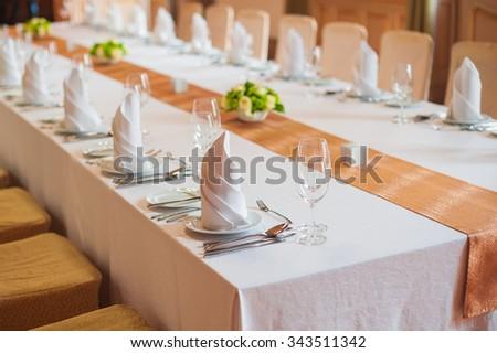 festive wedding table in a restaurant. - stock photo
