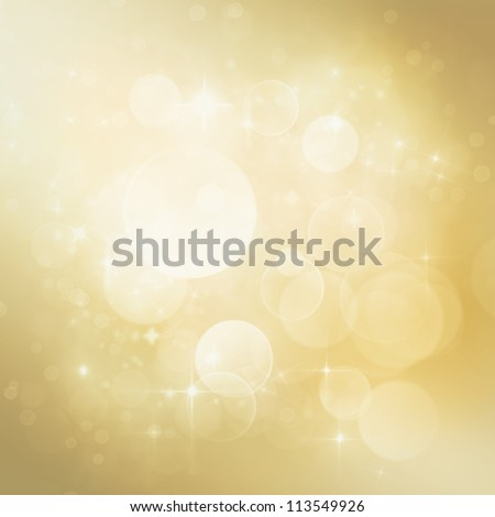 Festive winter  abstract nature background with  bokeh lights and stars - stock photo