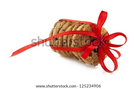 festive wrapped chocolate pastry cookies isolated on white background