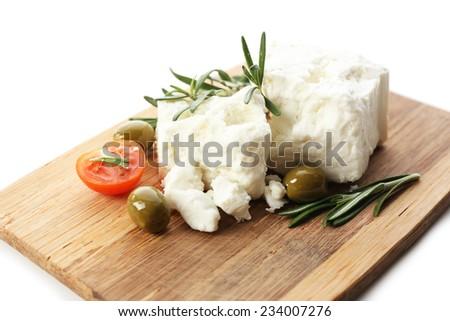 Feta cheese close-up - stock photo