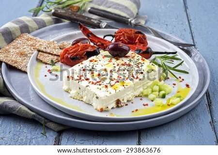 feta cheese grilled with spices - stock photo