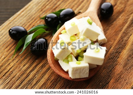 Feta cheese on table close-up - stock photo