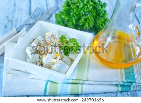 feta cheese with spice in the bowl - stock photo
