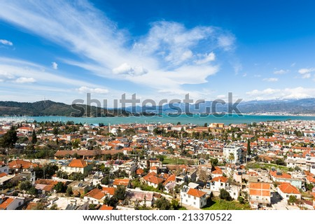 Fethiye landscape view from tombs. Turkey - stock photo