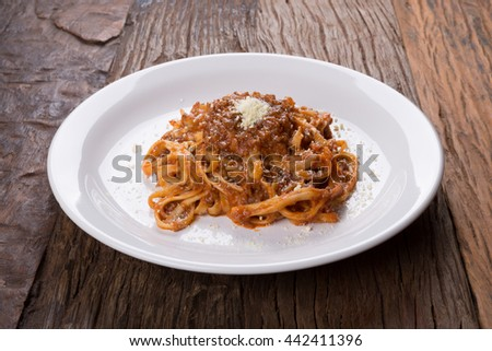 Fettuccine Bolognese / Fettuccine Bolognese / Fettuccine Bolognese - stock photo