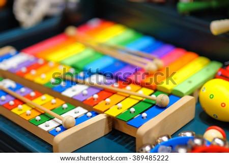 Few bright xylophones, closeup photo - stock photo