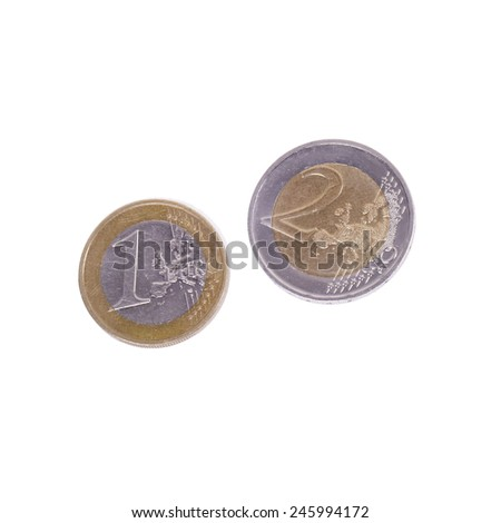 Few euro coins on a white background