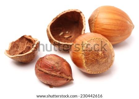few hazelnuts close up isolated on white background - stock photo